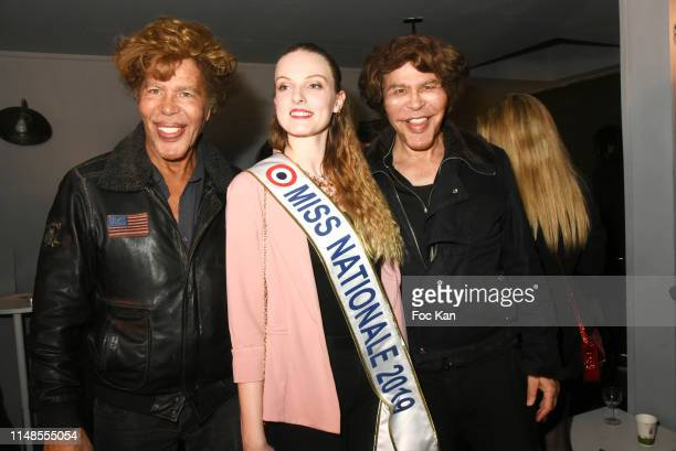 Igor Bogdanoff, Miss Nationale 2019 Julie Migret and Grichka Bogdanoff attend Omega TV Studio Party and Asabella Xia Birthday Party at Studio Omega...