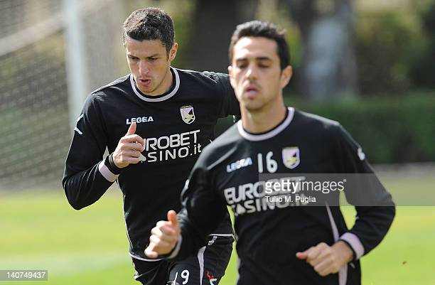 Igor Budan and Eran Zahavi of Palermo in action during a Palermo training session at Tenente Carmelo Onorato Sports Center on March 6 2012 in Palermo...
