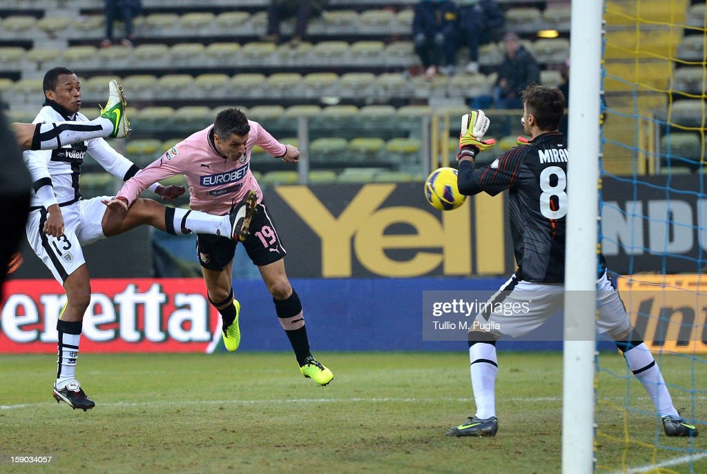 Igor Budan (C) of Palermo scores the equalizing goal during the Serie A match between Parma FC and US Citta di Palermo at Stadio Ennio Tardini on January 6, 2013 in Parma, Italy.