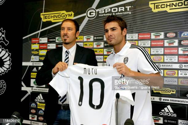 Igor Campedelli president of AC Cesena unveils Adrian Mutu as their new player during a press conference at Dino Manuzzi Stadium on July 7, 2011 in...
