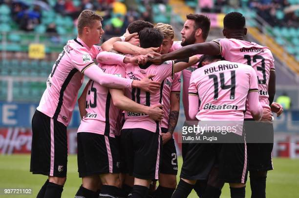 Igor Coronado of Palermo celebrates after scoring a penalty during the serie B match between US Citta di Palermo and Carpi FC at Stadio Renzo Barbera...