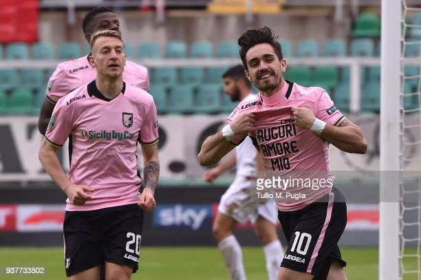 Igor Coronado of Palermo celebrates after scoring his second goal during the serie B match between US Citta di Palermo and Carpi FC at Stadio Renzo...
