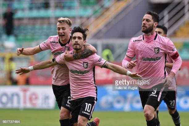 Igor Coronado of Palermo celebrates after scoring his team's fourth goal during the serie B match between US Citta di Palermo and Carpi FC at Stadio...