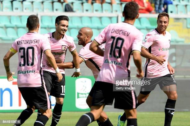 Igor Coronado of Palermo celebrates after scoring his team's second goal during the Serie B match between US Citta di Palermo and Empoli FC at Stadio...