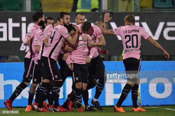 Igor Coronado of Palermo celebrates after scoring his team's second goal during the Serie B match between US Citta di Palermo and Ascoli Picchio on...