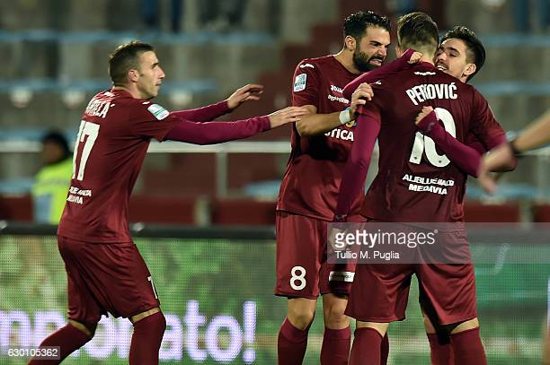 Igor Coronado of Trapani celebrates with teammates after scoring the equalizing goal during the Serie B match between Trapani Calcio and Frosinone...