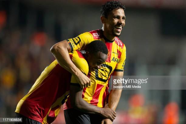 Igor De Camargo and William Togui of Kv Mechelen celebrate after winning the Jupiler Pro League match between KV Mechelen and Cercle Brugge at...