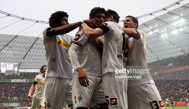 Igor de Camargo of Moenchengladbach celebrates scoring the second goal with his team during the Bundesliga match between Bayer 04 Leverkusen and...