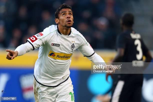Igor de Camargo of Moenchengladbach celebrates the first goal during the Bundesliga match between VfL Borussia Moenchengladbach and SC Freiburg at...