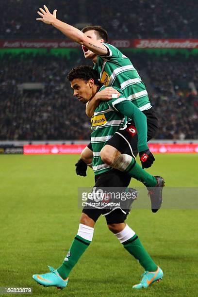 Igor de Camargo of Moenchengladbach celebrates the first goal with Havard Nordtveit of Moenchengladbach during the UEFA Europa League group C match...