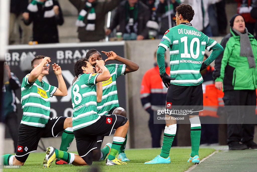 Igor de Camargo of Moenchengladbach (R) celebrates the second goal with his team mates during the UEFA Europa League group C match between Borussia Moenchengladbach and AEL Limassol FC at Borussia Park Stadium on November 22, 2012 in Moenchengladbach, Germany. The match between Moenchengladbach and Limassol ended 2-0.