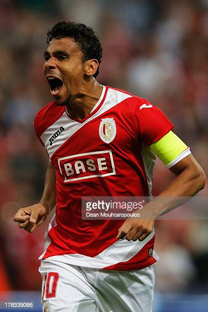 Igor De Camargo of Standard Liege celebrates scoring the second goal of the game during the Second Leg Play Off UEFA Europa League match between...