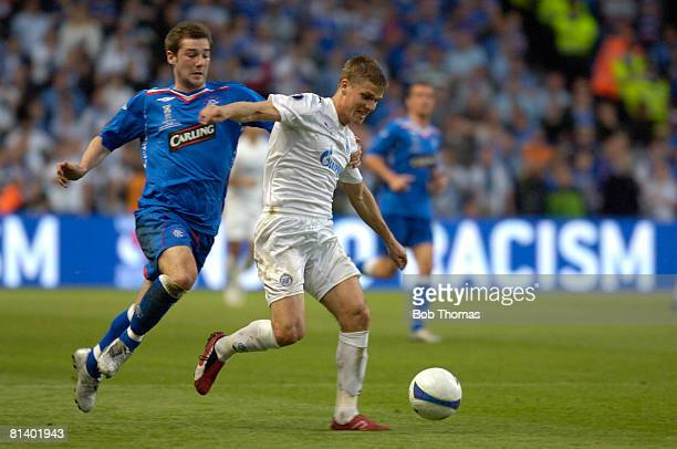 Igor Denisov of Zenit St Petersburg with Kevin Thomson of Glasgow Rangers during the UEFA Cup Final between Zenit St Petersburg and Glasgow Rangers...