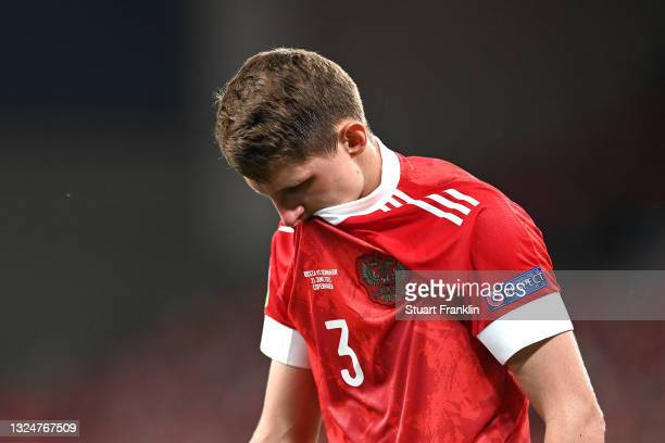 Igor Diveev of Russia reacts during the UEFA Euro 2020 Championship Group B match between Russia and Denmark at Parken Stadium on June 21, 2021 in...