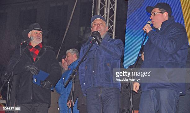 Igor Dodon leader of the Party of Socialists of the Republic of Moldova addresses the crowd during an antigovernment protest demanding resignation of...