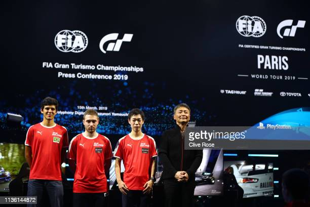 Igor Fraga of Brazil Vincent Rigaud of France Kanata Kawakami of Japan pose with Kazunori Yamauchi as current World Champions in...