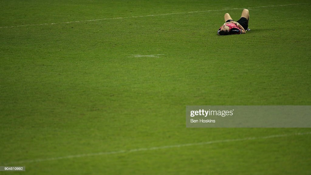 Igor Galinovsky of Krasny Yar looks dejected during the European Rugby Challenge Cup between London Irish and Krasny Yar on January 13, 2018 in Reading, United Kingdom.