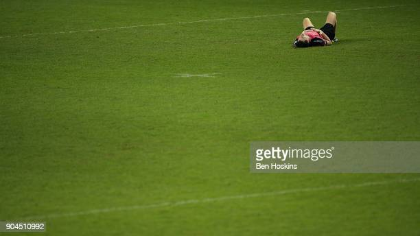 Igor Galinovsky of Krasny Yar looks dejected during the European Rugby Challenge Cup between London Irish and Krasny Yar on January 13 2018 in...