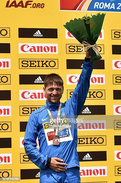 Igor Glavan celebrates his third place during award ceremony of the 50KM Race Walk at IAAF Race Walking Team Campionship Rome 2016 on May 7 2016 in...