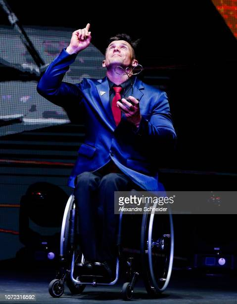 Igor Gofalini paralympic athlete poses for photo after winning the best canoeing athlete during the Brazil Paralympics Awards Ceremony 2018 at...