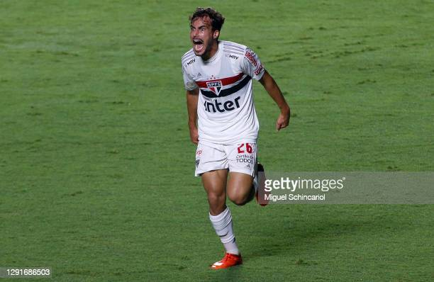 Igor Gomes of Sao Paulo celebrates after scoring his team´s first goal during a match between Sao Paulo and Atletico MG as part of Brasileirao Series...