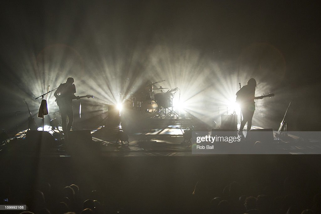 Igor Haefeli, Remi Aguilella and Elena Tonra of Daughter perform at Hackney Empire on January 24, 2013 in London, England.