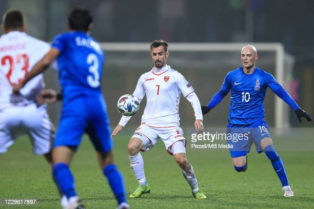 Igor Ivanovic of Montenegro controls a ball during the UEFA Nations League group stage match between Azerbaijan and Montenegro at Ivan Laljak-Ivic...