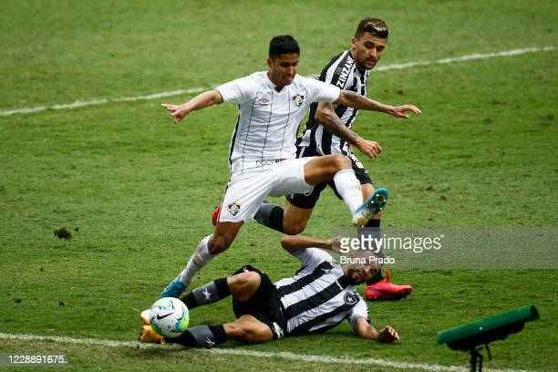 Igor Juliao of Fluminense fights for the ball with Caio Alexandre of Botafogoduring the match between Botafogo and Fluminense as part of the...