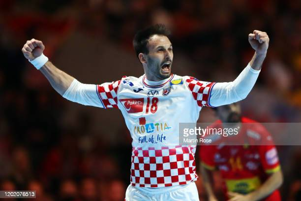 Igor Karacic of Croatia celebrates a goal during the Men's EHF EURO 2020 final match between Spain and Croatia at Tele2 Arena on January 26, 2020 in...