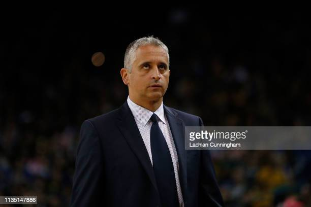 Igor Kokoskov head coach of the Phoenix Suns looks on during the game against the Golden State Warriors at ORACLE Arena on March 10 2019 in Oakland...