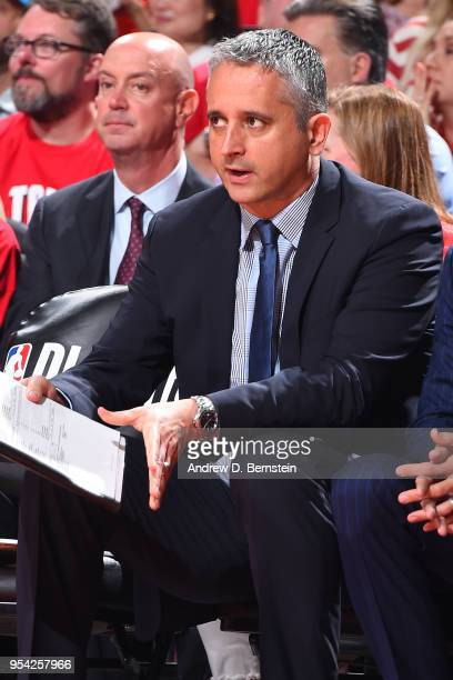 Igor Kokoskov of the Utah Jazz looks on during the game against the Houston Rockets in Game Two of Round Two of the 2018 NBA Playoffs on May 2 2018...