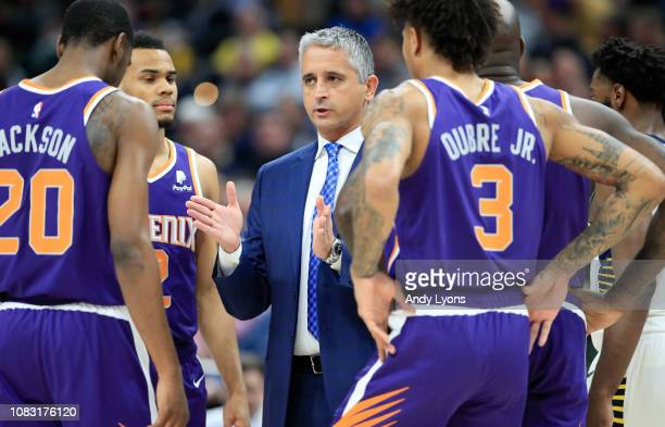 Igor Kokoskov the head coach of the Phoenix Suns gives instructions to his teaml against the Indiana Pacersat Bankers Life Fieldhouse on January 15,...