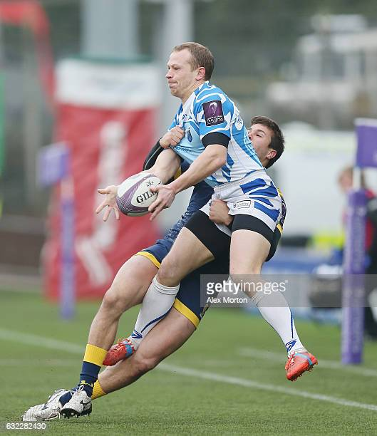 Igor Kurashov of EniseiSTM and Dean Hammond of Worcester during the European Rugby Challenge Cup match between Worcester Warriors and EniseiSTM at...