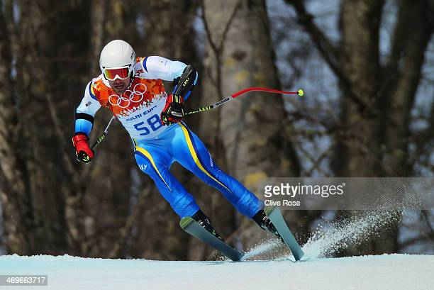 Igor Laikert of Bosnia and Herzegovina skis during the Alpine Skiing Men's SuperG on day 9 of the Sochi 2014 Winter Olympics at Rosa Khutor Alpine...