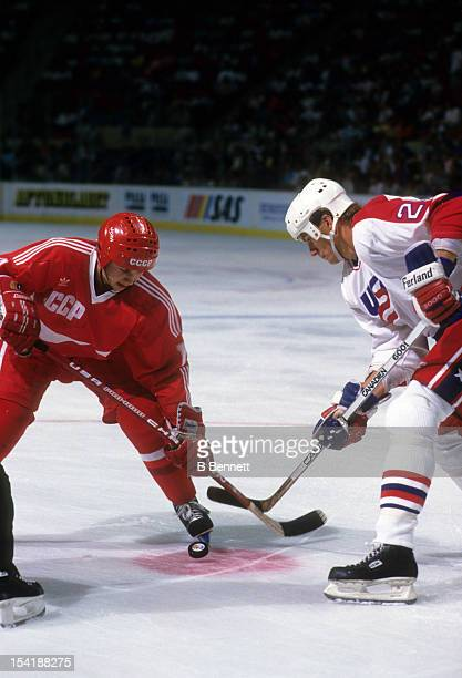 Igor Larionov of the Soviet Union takes the faceoff with Joel Otto of the United States during the 1987 Canada Cup on September 4 1987 at the...