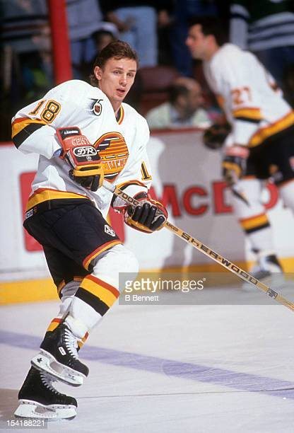 Igor Larionov of the Vancouver Canucks warmsup before an NHL game in March 1990 at the Pacific Coliseum in Vancouver British Columbia Canada