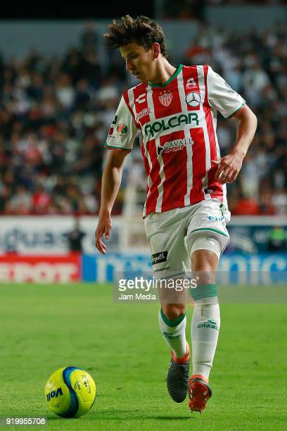 Igor Lichnovsky del Necaxa drives the ball during the 8th round match between Necaxa and Monterrey as part of the Torneo Clausura 2018 Liga MX at...
