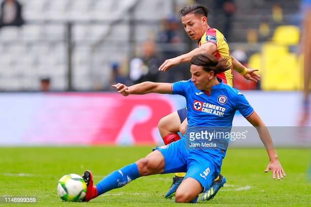 Igor lichnovsky of Cruz Azul fights for the ball with Sebastian Ferreira of Morelia during the 17th round match between Cruz Azul and Morelia as part...