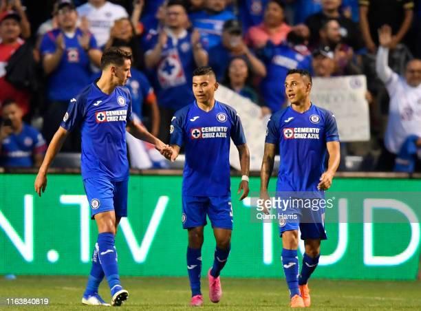 Igor Lichnovsky Orbelin Pineda and Yoshimar Yotun of Cruz Azul celebrate after scoring a goal in the first half against the Chicago Fire SeatGeek...