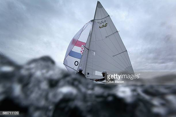 Igor Marinec and Sime Fantela of Croatia in action in their 470 class dinghy during training ahead of the Rio 2016 Olympic Games at the Marina da...