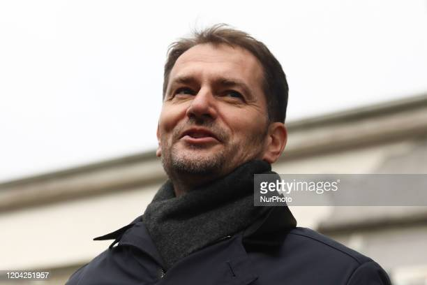 Igor Matovic, leader of Ordinary People and Independent Personalities OLaNO movement after voting during parliamentary election in Trnava, Slovakia...