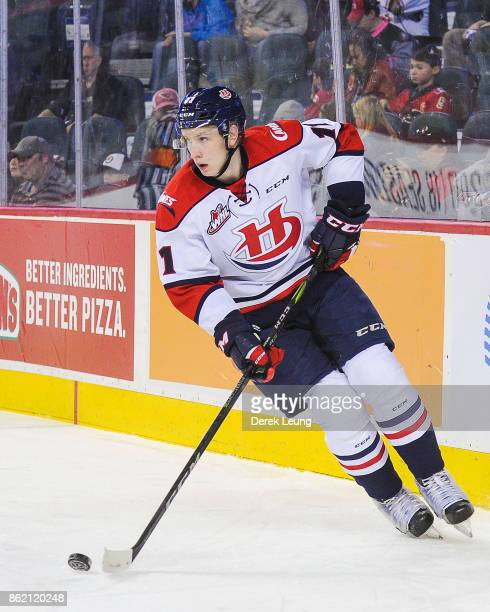 Igor Merezhko of the Lethbridge Hurricanes in action against the Calgary Hitmen during a WHL game at the Scotiabank Saddledome on October 15, 2017 in...