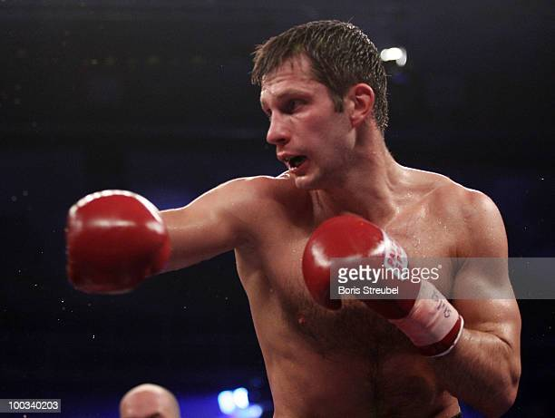 Igor Michalkin of Germany in action during his international german championship title fight against Aleksy Kuziemski at the StadtHalle on May 22...