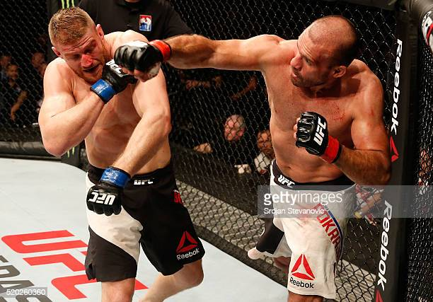 Igor Pokrajac punches Jan Blachowicz in their light heavyweight bout during the UFC Fight Night event at the Arena Zagreb on April 10 2016 in Zagreb...