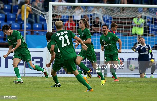 Igor Portnyagin of FC Tom Tomsk celebrates after scoring a goal during the Russian Premier League match between FC Tom Tomsk and PFC CSKA Moscow at...