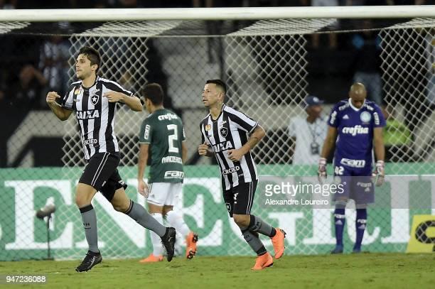Igor Rabello of Botafogo celebrates their first scored goal during the match between Botafogo and Palmeiras as part of Brasileirao Series A 2018 at...