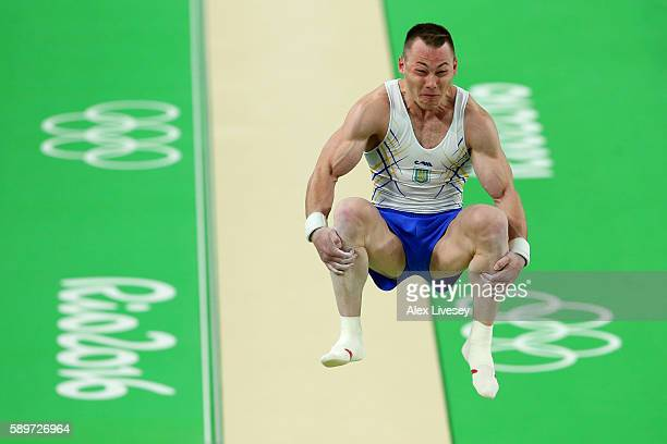 Igor Radivilov of Ukraine competes in the Men's Vault Final on day 10 of the Rio 2016 Olympic Games at Rio Olympic Arena on August 15 2016 in Rio de...