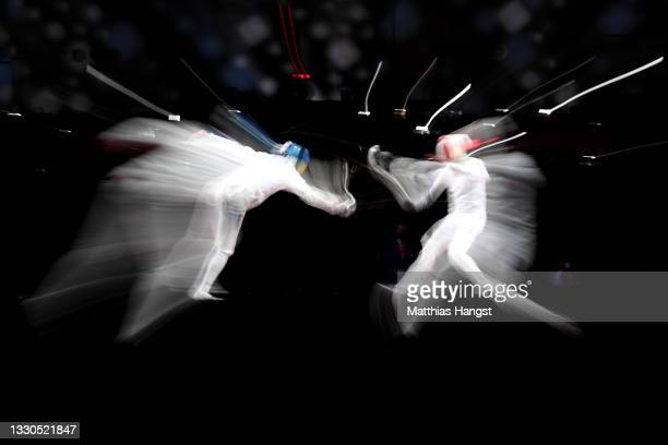 Igor Reizlin of Team Ukraine competes against Romain Cannone of Team France in the Men's Épée Individual Fencing semifinal 2 on day two of the Tokyo...