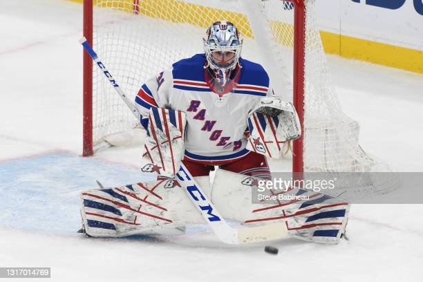 Igor Shesterkin of the New York Rangers in the net during the third period against the Boston Bruins at the TD Garden on May 8, 2021 in Boston,...