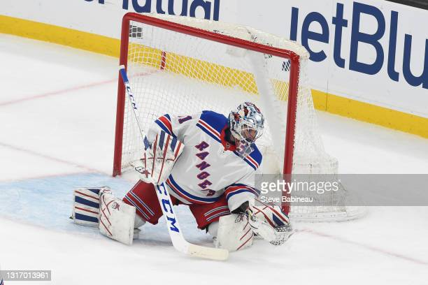 Igor Shesterkin of the New York Rangers in the net for the third period against the Boston Bruins at the TD Garden on May 8, 2021 in Boston,...